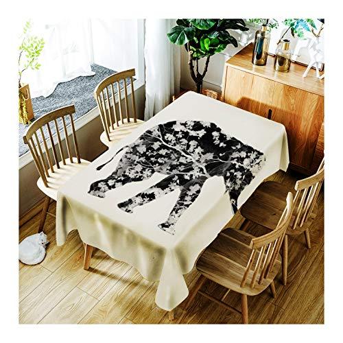 ZHAOXIANGXIANG Minimaliste Élégant Tapis De Table Lavable Créatif Et Fleur Motif Éléphant Décoration D'Intérieur Nappe d'impression,90Cm×130Cm