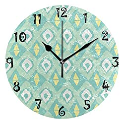LDIY Art Green Prism Pattern Round Wall Clock Circular Plate Silent Non Ticking Clocks for Kitchen Home Office School Decor Kid Boys Girls