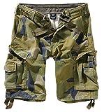 Brandit Basic Vintage Homme Cargo Short - Suédois Camouflage, XL