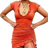 Qagazine Trajes para mujer con cuello en V profundo plisado con cordón falda verano temperamento delgado color sólido suave y cómodo para casual