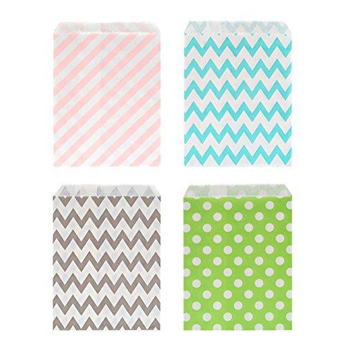 Kesote 100 Bolsas de Papel para Caramelos Bolsas de Papel para Regalos de 4 Diferentes Patrones, Olas, Punto y Rayas diagonales (Colores aleatorios)