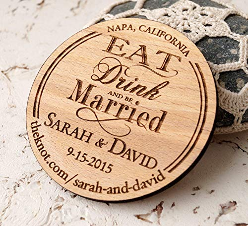 Save the Date magnets, wedding save the dates, rustic save the dates, wooden magnet, personalized round wood save the dates