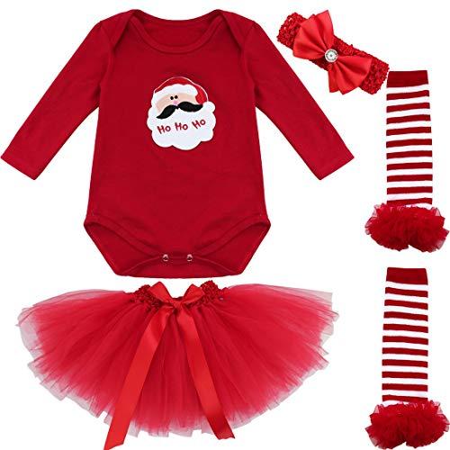 IEFIEL Conjunto Infantil de Carnaval Navidad Reyes Fiesta Body Pelele + Falda Estilo de Vestido Algodón para Bebé Niña Recién Nacido Papá Noel 6-9 Meses