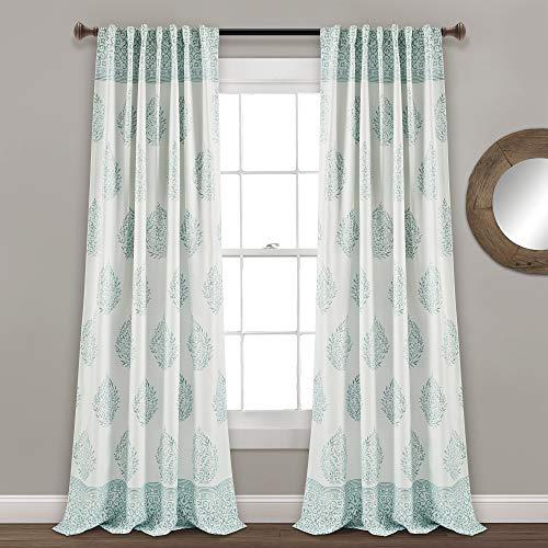 "Lush Decor, Blue Teardrop Leaf Curtains Room Darkening Window Panel Set for Living, Dining, Bedroom (Pair), 95"" x 52, 95"" x 52"""