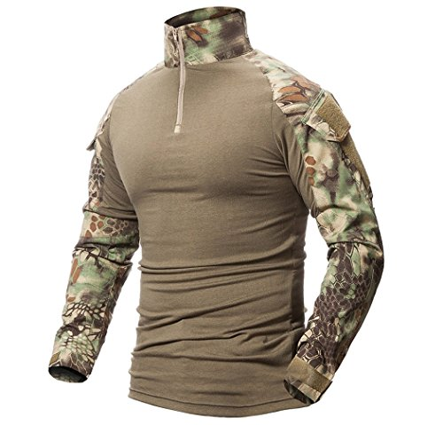 ShallGood Herren Outdoor Military Schlank Passen Taktisch T-Shirt Militär Tarnung Jacke Kampf Lange Hülse Camouflag T-Shirt Für Tactical Airsoft Paintball Armee Jagd Desert Hemd (X-Large, A Grün)