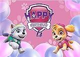 Customizable Vinyl Photography Backdrop PAW Patrol Shield Theme Girls Baby Shower Birthday Party Pink Background (3x5ft,1#)
