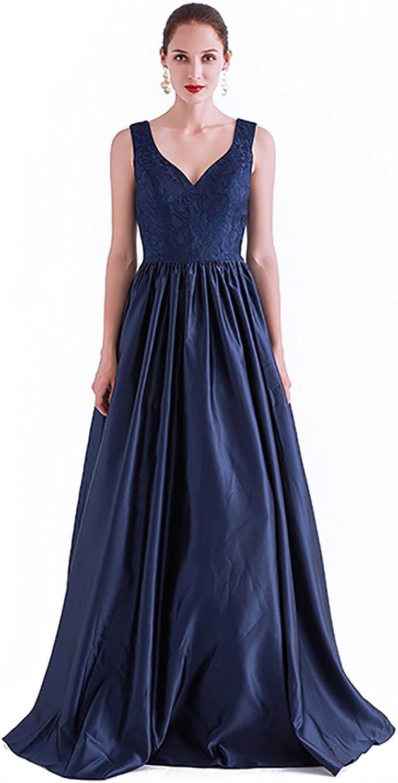 CG Women's ALine Princess V Neck Floor Length Lace Satin Prom Formal Evening Dress with Plests J0512