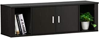 Topeakmart Wall Mounted Floating Media Storage Cabinet Hanging Desk Hutch 2 Door & Compartment Home Office Furniture