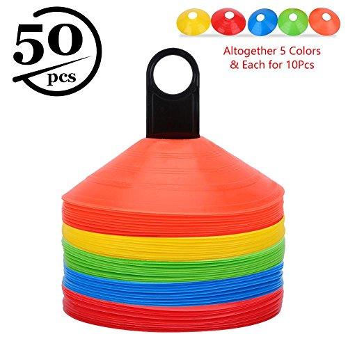 50pcs Coni da Allenamento per Attività Sportive, Coni Piatti Sportivo Multifunzione a Colori con Maniglia di Trasporto in Plastica per Calcio, Segnaposto