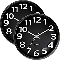 Bernhard Products Large Black Wall Clock 2 Pack Silent Non Ticking - 13 Inch Quality Quartz Battery Operated Round Modern Style Easy to Read for Office/Home/Living Room/Classroom/School, White Numbers