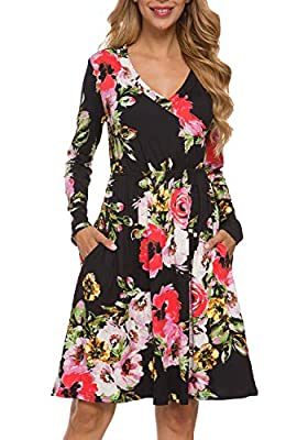 LAINAB Women's Floral Fall Long Sleeve Pockets Casual Tunic T Shirt Dress
