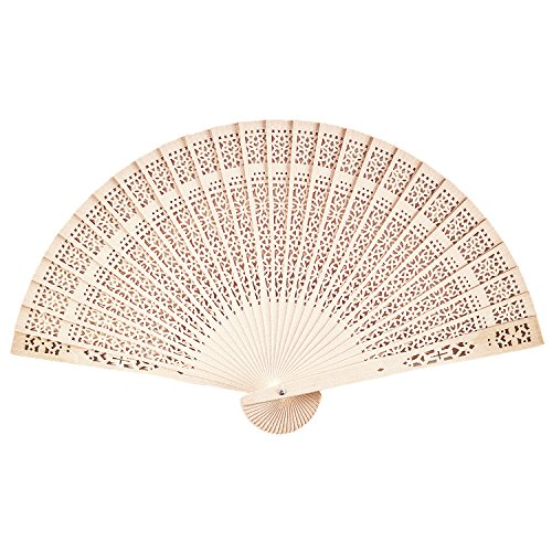 Chinese Sandalwood Scented Wooden Openwork Personal Hand Held Folding Fans for Wedding Decoration, Birthdays, Home Gifts by Super Z Outlet (48 Pack)