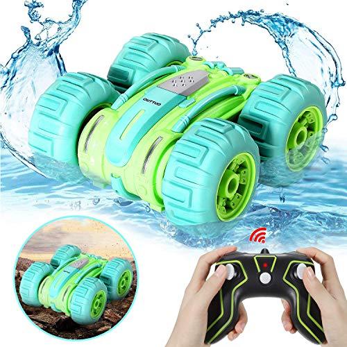 LUOWAN Amphibien Ferngesteuertes Auto, 2.4GHz 4WD Spielzeugauto mit Hochgeschwindigkeit, 360 Grad drehbar, geeignet für den Einsatz im Wasser oder auf dem Boden, Kinder(Grün)