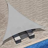 Velway Tenda a Vela Ombreggiante Triangolare 3x3x3m, Telo Parasole Tenda da Sole Esterno in Oxford 300D Anti-UV e Antipioggia, Tendalino per Giardino Barca Balcone Terrazza Campeggio, Grigio