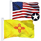 G128 Combo Pack: USA American Flag 3x5 Ft Embroidered Stars & New Mexico State Flag 3x5 Ft Embroidered