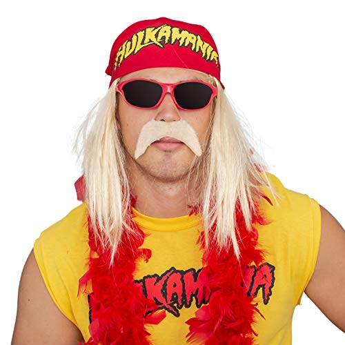 Hulk Hogan Hulkamania Complete Costume Set (Adult Small, Red Sunglasses/Red Bandana)