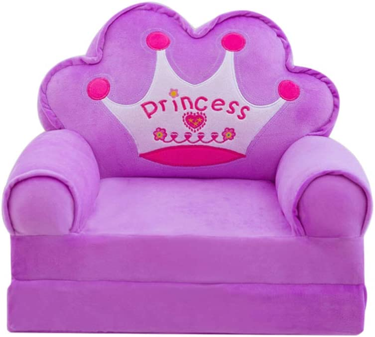 jojofuny Kid Sofa Cover Child Chair Cover Mini Size Sofa Slipcovers Soft Armchair Couch Cover Pink Settee Coat with Princess Crown Non Slip for Children Toddler Baby Christmas Sofa Decor