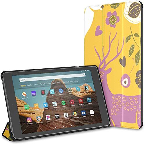Funda para Kindle Funda Inteligente de Cuero PU Summer Garden Deers Funda para Tableta de 10 Pulgadas Funda para Tableta Kindle Fire HD de 10 Pulgadas (9a generación 2019 / 7a generación 2017) con AC