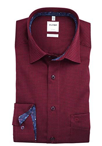 OLYMP Luxor Comfort fit Hemd Langarm Muster rot Größe 46