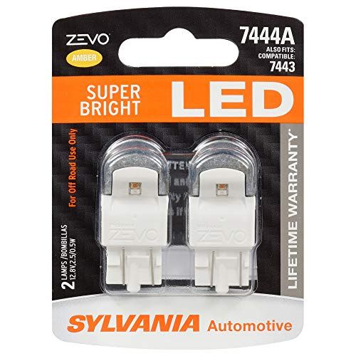 SYLVANIA - 7444 T20 ZEVO LED Amber Bulb - Bright LED Bulb, Ideal for Park and Turn Lights (Contains 2 Bulbs)