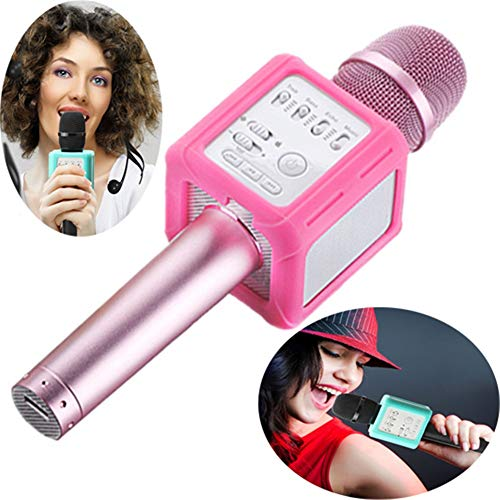 WYGC MIC Micrófono Inalámbrico Karaoke Bluetooth Altavoz Cambio de Voz Estéreo KTV Reproductor Profesional Altavoz Cantar App Grabación de música para iOS Android Smartphone (Color : Pink)