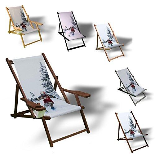 Printalio - Ski - Liegestuhl Bedruckt Balkon Garten Sonnenliege Relax Holz Terrasse   Kinderliegestuhl, Dunkelbraun