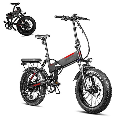CM67 F7 Ebike Elektro Faltbar 20 Zoll 4.0 Fettreifen 750W Fatbike E Bikee Aus Alu 7 Gang Mountainbike 45 KMPH 48V 13.6Ah Folding Bike Elektro Load Capacity 150KG Damen Herren Fahrrad