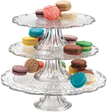 Elegant Stackable 1, 2, or 3 Tiers Glass Scalloped Edge Cake or Cupcake Stand or Individual Cake Plates