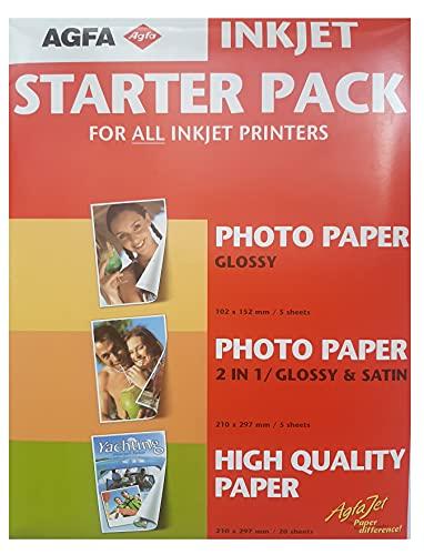 Agfa 5 hojas de papel de inyección de tinta Glossy 102 x 152 mm, 5 hojas 2 en 1 210 x 297 mm, 20 hojas 210 x 297 mm