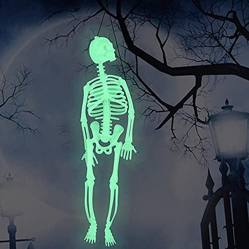 3 Piezas de Cuerpo de Esqueleto Brillante de Halloween, Esqueleto de Plástico Accesorios para Adornos Colgantes, 12, 35, 59 Pulgadas para Decoración del Jardín del Patio, Regalos, Mascaradas