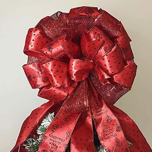 Adorno para árbol de Navidad, lazo de malla de serpentina roja grande de 34x13 pulgadas, lazo de regalo de árbol de Navidad hecho a mano para coronas Decoración de interior y exterior de casa de camp