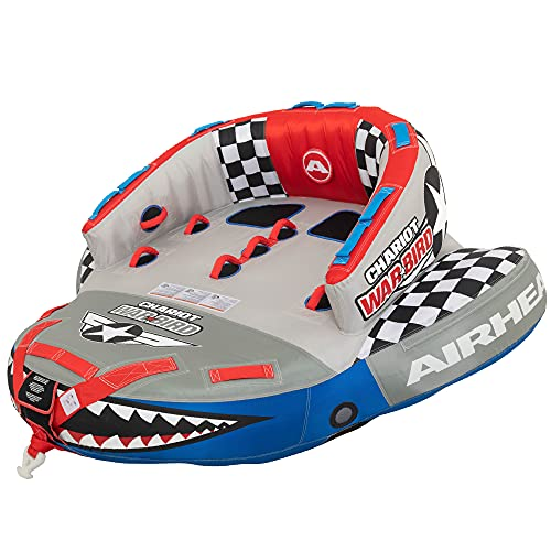 Airhead Chariot Warbird 2 | 1-2 Rider Towable Tube for Boating, Grey, Blue, Red, 2 Person