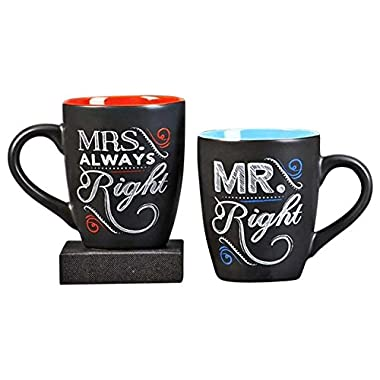 Novelty Coffee Tea Mug Set for Newlyweds - Chalk Talk Mr. Right and Mrs. Always Right - Set of 2 Mugs