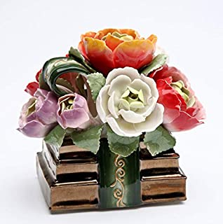 Cosmos Gifts Fine Porcelain Books with Bouquet of Flowers Magnolia, Peony and Roses Musical Music Box Figurine (Tune: Memory), 4-1/8