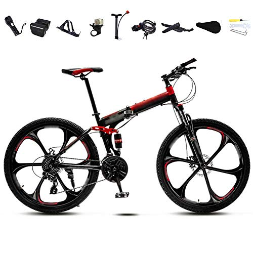 26-inch Folding Commuter Bike, 30-Speed Gear Dual-disc Mountain Bike, Neutral Off-Road Variable Speed Bike, red