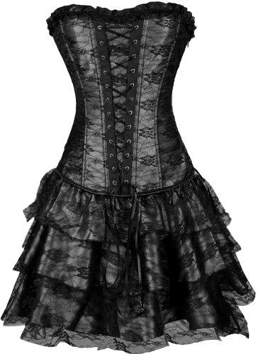 EUDOLAH Gothic Korsage Kleid Mini Rock Petticoat Bustier Top mit Tutu-Rock (Medium, 630 A-Schwarz)