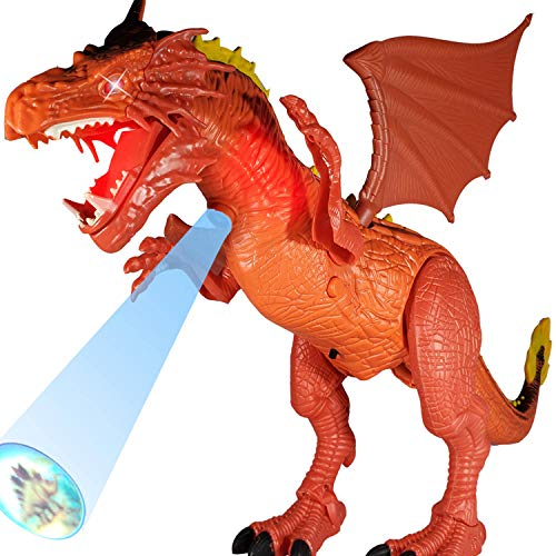 The Latest Premium Dragon Toy / Dinosaur Toy for Kids – Battery Operated Flying Dragon with 3D Projection | Walking, Roaring and Glowing | Wings Swing- Best Kids Toy Gift (Colors Vary, Age 3+)