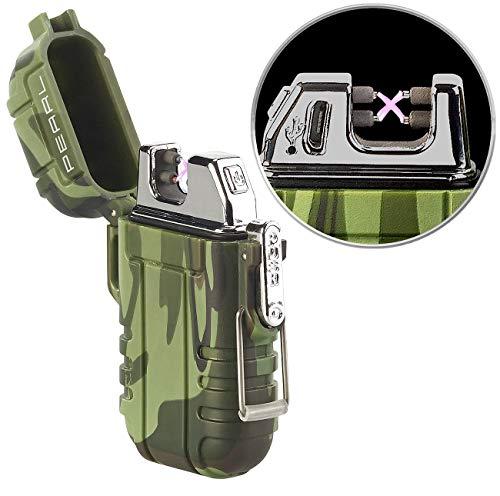 PEARL USB Feuerzeug: Elektronisches Feuerzeug mit doppeltem Lichtbogen, Akku, IP56, grün (Elektrofeuerzeug)