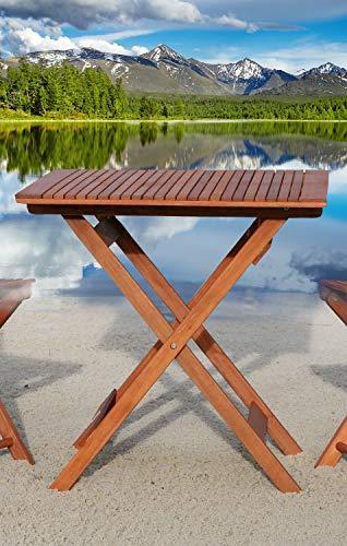 GRASEKAMP Qualität seit 1972 Balkontisch Toskana 70 x 70 cm Natur Klapptisch Beistelltisch Gartentisch