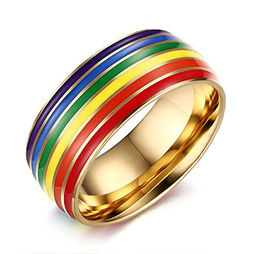 Nanafast 8mm Stainless Steel Enamel Rainbow LGBT Pride Ring for Lesbian & Gay Wedding Engagement Band Gold Size 7