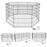 Pet Republic 30inch Foldable Pet Playpen Dog Exercise Pen Metal Pet Fence 8 Panel (30Inches)