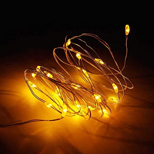 QPOWY Luces de Cadena de Alambre de Plata LED Guirnalda de Hadas para la decoración del hogar al Aire Libre de la Boda de Navidad 3M 5M