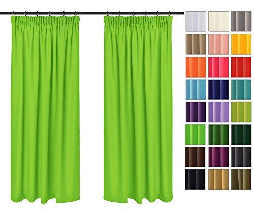 Rollmayer Vorhänge mit Bleistift Kollektion Vivid (Seladongrün 24, 135x150 cm - BxH) Blickdicht Uni einfarbig Gardinen Schal für Schlafzimmer Kinderzimmer Wohnzimmer
