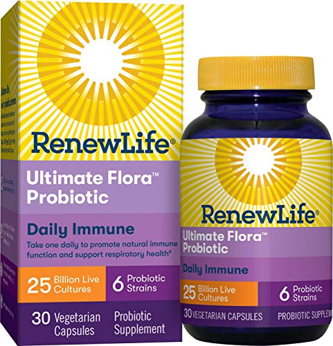 Renew Life Adult Probiotic - Ultimate Flora Daily Immune Probiotic Supplement - Gluten, Dairy & Soy Free - 25 Billion CFU - 30 Vegetarian Capsules (Packaging May Vary)
