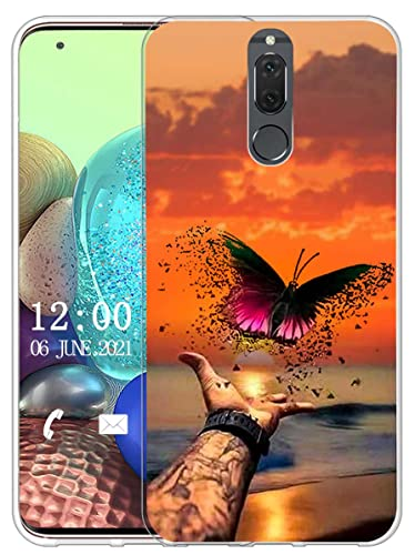 Sunrive Funda Compatible con Huawei Mate 10 Lite, Sunrive Silicona Slim Fit Gel Transparente Carcasa Case Bumper de Impactos y Anti-Arañazos Espalda Cover(X Mariposa)