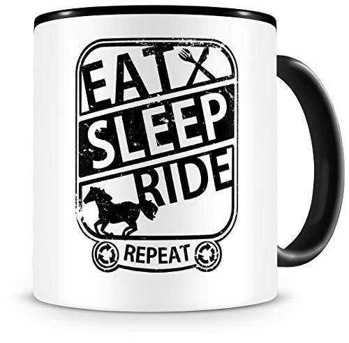 Samunshi® Taza con texto en inglés 'Eat Sleep Ride Repeat', regalo para jinete, taza de café, taza grande divertida para cumpleaños, color negro, 300
