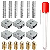 AFUNTA 6 Sets/18 Pcs 3D Printer 0.4mm MK8 Stainless Steel Extruder Nozzle Print M6 Head & 1.75mm 30mm Length Teflon Throat Tube & Heater Blocks Hotend, Compatible MK8 Makerbot Reprap i3 / Anet A8 A2