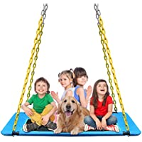 KKTour 60 Inch Platform Tree Swing with 4-Pieces Heavy Duty Chains