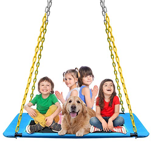 KKTour Platform Tree Swing 60inch Kids Adults Outdoor Large Flying Swings Seat, Textliene Waterproof Fabric with 4pcs Heavy Duty Chains & 1000 lb Adjustable Tree Hanging Straps (Blue)