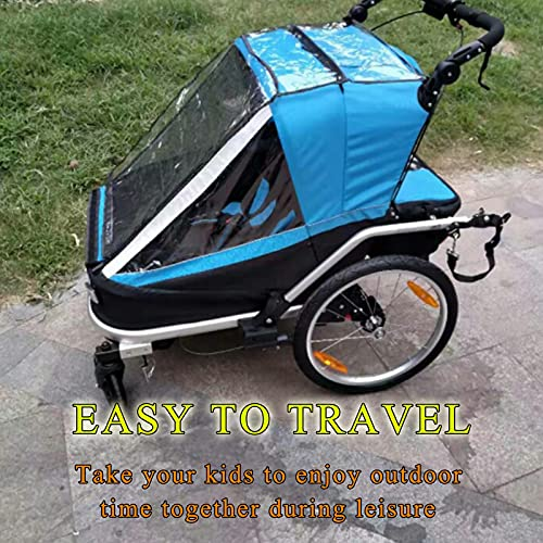 DUTUI Two-Seater Outdoor Bicycle Trailer Rear-Mounted, Large Space Mountain Bike for Outing Riding, Foldable And Comfortable Seat